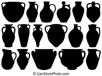 Set of different clay pottery isolated on white