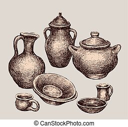 set of different clayware