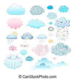 set of different clouds