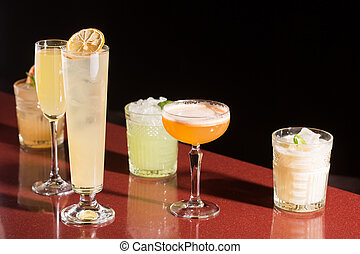 set of different cocktails