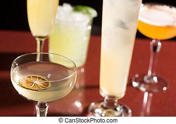 set of different cocktails