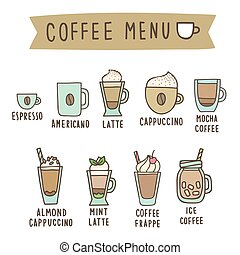 Set of different coffee style drinks.