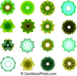 Set of different color, blue, green circular patterns. Vector illustration on isolated background
