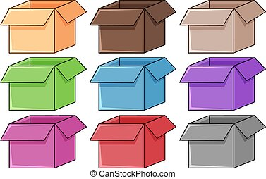 Set of different color boxes