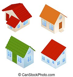 set of different color cartoon houses.