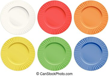 Set of different color plates