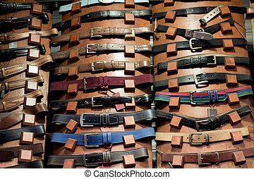 Set of different colored belts with buckles