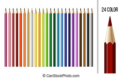 Set of different colored pencils isolated on white background.