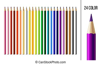 Set of different colored pencils with circular cross section isolated on white background.