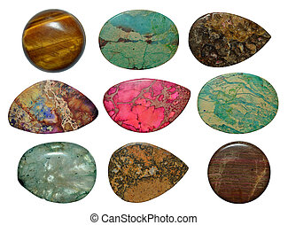 Set of different colorful stones isolated on a white