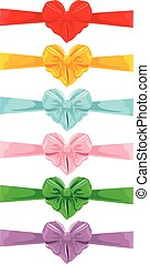 Set of different colors bows in heart shape isolated on white background. Element for holidays cards, Birthday, Valentines Day, wedding invitation, etc.
