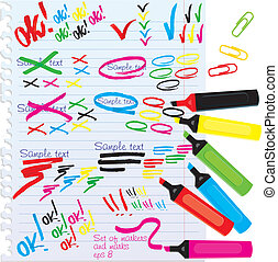 Set of different colors markers and marks