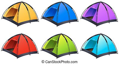Set of different coloured tents illustration