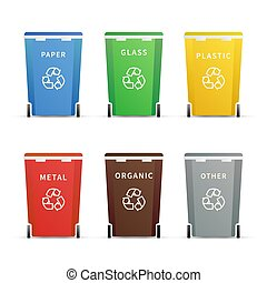 Set of different colourful trash containers for different types of waste on white