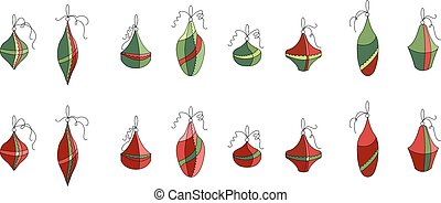 Set of different contour Christmas decoration