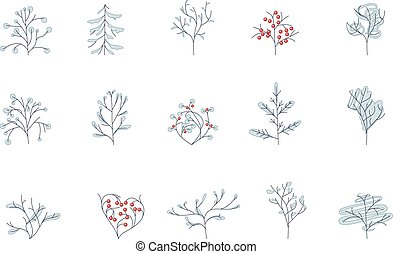 Set of different contour winter trees isolated on white.