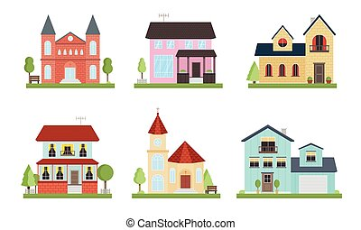 Set of different country houses with garden trees. Vector illustration in flat cartoon style.