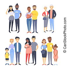 Set of different couples and families. Cartoon style people of different races, nationalities (white, black and asian), ages (young and elderly), with baby, boy, girl, pregnant woman