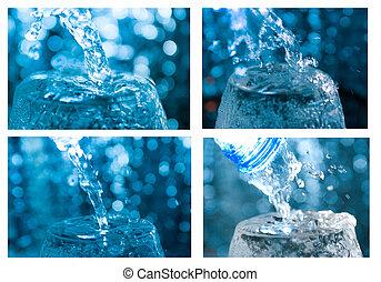 set of different creative splashing water