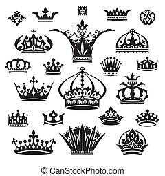 set of black different crowns vector illustration