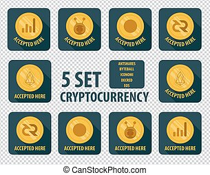 set of different cryptocurrency flat style on a dark background