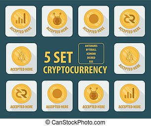 set of different cryptocurrency flat style on a white background