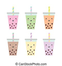 Set of different cups with bubble tea.