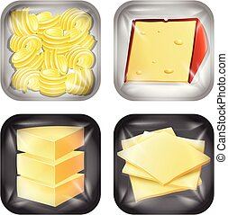 Set of different dairy packaged food