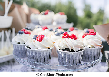Set of different delicious tasty muffins with berries on summer background. Different dessert tartlets with cream and fresh blueberry and raspberry. Selective focus. candy bar concept