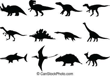 set of different dinosaurs - hand drawn, sketch illustration...