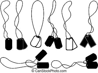 Set of different dog tags