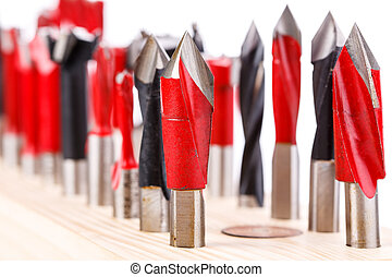 set of different drill bits for wood