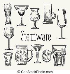 Set of Different Drink Beverage Glasses. Stemware Hand Drawn...