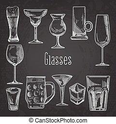 Set of Different Drink Glasses. Stemware Hand Drawn Doodle...