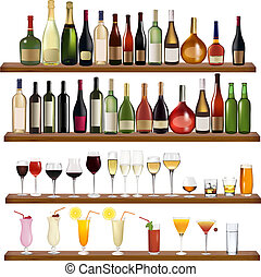 Set of different drinks and bottles on the wall. Vector ...
