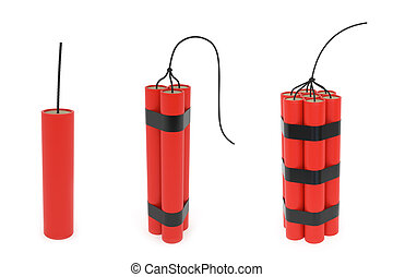 Set of different dynamites with wick