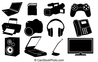 set of different electronics isolated on white