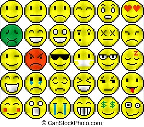 Set Of Different Emoticons Set Of Different Colored Pixel