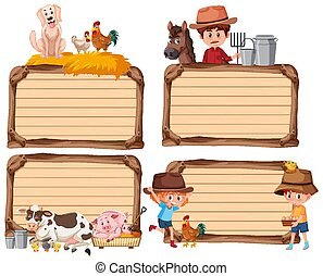 Set of different empty banner with farmer and animals on white background