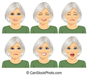 set of different expressions of the same senior woman over...