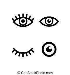 Set of different eye with pupil and eyelashes signs, simple black icons isolated on white
