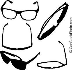 Set of different eyeglasses