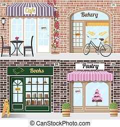 Set of different facades bakery, cafe, bookshop and pastry...