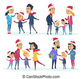 Set of Different Families on White Background