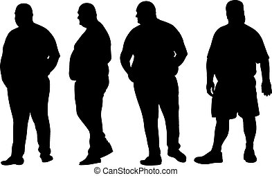 set of different fat men silhouettes