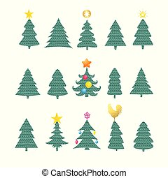 Set of different fir trees on white background. Christmas collection.