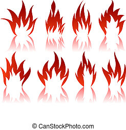 Set of different fire patterns
