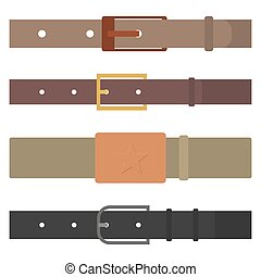 Set of different flat colored belts, vector illustration. -...