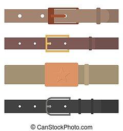 Set of different flat colored belts, vector illustration. -...
