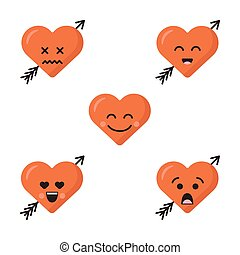 Set of different flat cute emoji heart faces with arrow isolated on the white background. Happy emoticons faces. Collection of five smiles.
